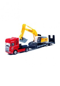 Affluent Town 1:64 Die-cast Scania Carrier Trailer and Mobile Excavator Crane Digger Truck Model Collection (Red)