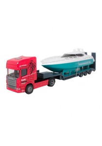 Affluent Town 1:64 Die-Cast Scania Carrier Trailer Truck & Boat Red Color Model