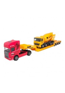 Affluent Town 1:64 Die-Cast Scania Carrier Trailer Truck & Concrete Mixer Model