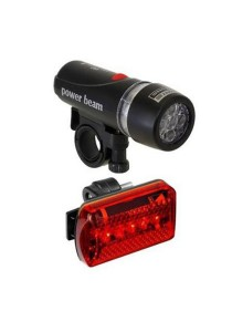 Power Beam Bicycle LED Super Bright Head Torch Light Lamp Set (Black)