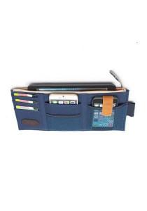 Car Sun Visor Zipper Documents Pockets Card Holder Organizer Storage Bag (Navy Blue)