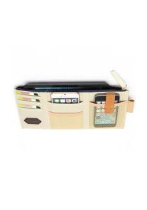 Car Sun Visor Zipper Documents Pockets Card Holder Organizer Storage Bag (Light Beige)