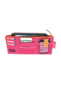 Car Sun Visor Zipper Documents Pockets Card Holder Organizer Storage Bag (Pink)