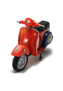 Home Toys Motor Scooter 4.5 Die-cast Flower Motorcycle Ride Model Collection (Orange)