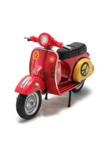 Home Toys Motor Scooter 4.5 Die-cast Flower Motorcycle Ride Model Collection (Red)