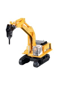 Kaidiwei 1:87 Die-Cast Hammer Excavator Truck Yellow Color Metal Model