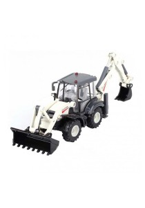 Kaidiwei 1:50 Die-Cast Backhoe Loader Truck White Color Metal Model