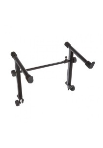 2nd Dual Tier Adjustable Metal Keyboard Piano X Stand Adapter Fordable (Black)