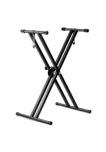 Adjustable Keyboard Piano X Frame Stand Heavy Duty Aluminum Musical Accessory (Black)