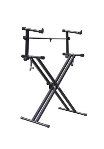 Adjustable Metal Keyboard Piano X Stand and 2nd Dual Tier Set (Black)