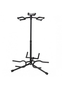 Triple Guitar Stand Detachable Folding Adjustable 3x Portable Bass Ukulele (Black)