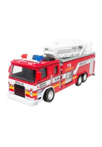 1:32 Die-Cast Fire Ladder Truck Red Model Collection Sound & Light & Pull Back