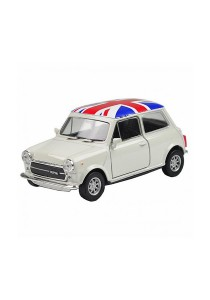 Welly 1:34-1:39 Die-Cast Mini Cooper 1300 UK England Flag Car White Color Model Collection