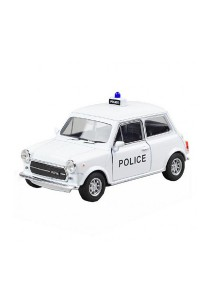 Welly 1:34-1:39 Die-Cast Mini Cooper 1300 Police Car Classic White Color Model Collection