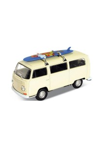 Welly 1:34-1:39 Scale '72 Volkswagen Bus T2 Surfboard Die-cast Model Collection (White)