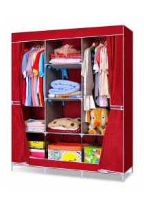 King Sized Curtain Wardrobe (Red)