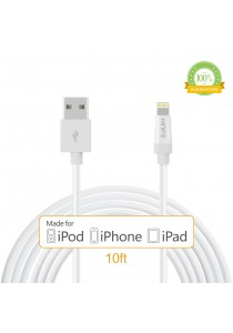 Kinps 10ft / 3m Apple MFi Certified Charging Cable - White
