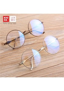KIODA Gold Fashion Round Oversized Clear Lens Glasses