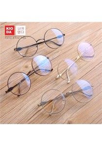 KIODA Metal Grey Fashion Round Oversized Clear Lens Glasses
