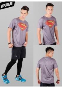 Super Hero Men's Sport Quick Dry Short Sleeves T-Shirt Tees M25687 (SupermanGrey)