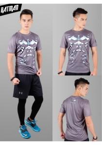 Super Hero Men's Sport Quick Dry Short Sleeves T-Shirt Tees M25687 (BatmanGrey)