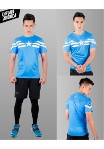 Super Hero Men's Sport Quick Dry Short Sleeves T-Shirt Tees M25687 (CaptainAmericaBlue)