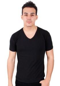 KM Body Fit Solid Colors Men Short Sleeve Top - Black