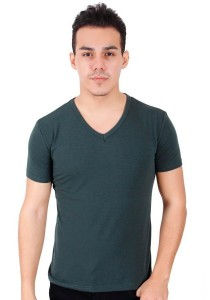 KM Body Fit Solid Colors Men Short Sleeve Top - Green