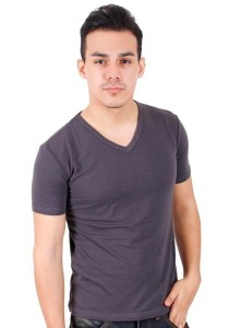 KM Body Fit Solid Colors Men Short Sleeve Top - Grey
