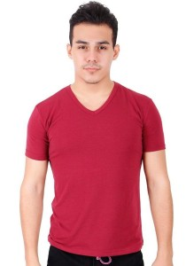 KM Body Fit Solid Colors Men Short Sleeve Top - Maroon