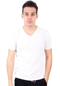 KM Body Fit Solid Colors Men Short Sleeve Top - White