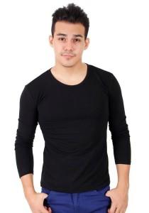 KM Men Body Fit Plain Long Sleeve T-Shirt - Black