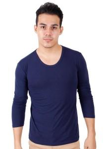 KM Men Body Fit Plain Long Sleeve T-Shirt - Dark Blue