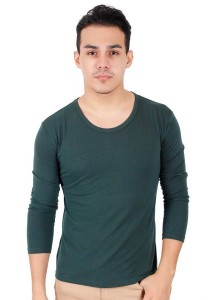 KM Men Body Fit Plain Long Sleeve T-Shirt - Green