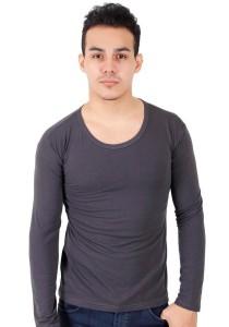 KM Men Body Fit Plain Long Sleeve T-Shirt - Grey