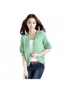 Korean Short Sleeve Knitted Wrap Around Cardigan (Green)