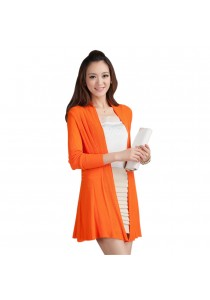 Korean Style Summer Fashion Women's Draped Cotton Cardigan Orange