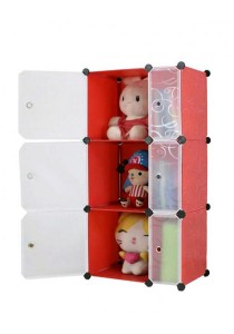 Tupper Cabinet 6 Cubes Slim-Size DIY Cabinet (Red Stripes)