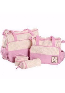 Old Fashion 5 In 1 Mommy Bag (Pink)