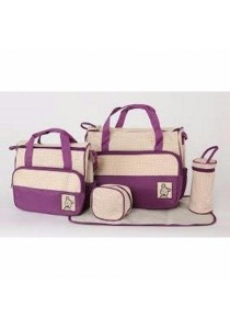 Old Fashion 5 In 1 Mommy Bag (Purple)