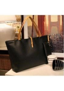 Fashion Women Shoulder Tote Bag (Black)