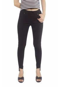 Ladies Room Double Button Stretchable Skinny Pant - Black
