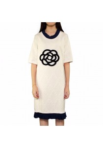 Ladies Room Winter Cashmere Short Sleeve Dress - White L