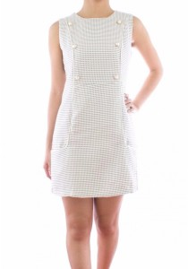 Ladies Room Sleeveless Grid Pearl Button Frontal Pocket Shift Dress - Grey