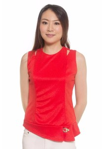 Ladies Room Irregular Cut Shoulder Length Top - Red S / M