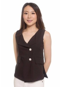 Ladies Room Sleeveless Vest Blouse - Black M / L