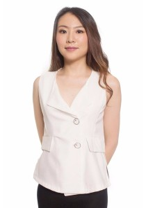 Ladies Room Sleeveless Vest Blouse - White S / M