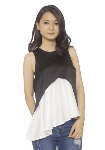 Ladies Room Irregular Length Peplum Top - Black