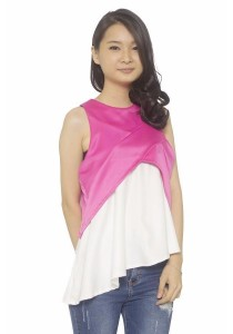Ladies Room Irregular Length Peplum Top - Pink
