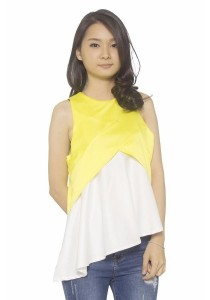 Ladies Room Irregular Length Peplum Top - Yellow